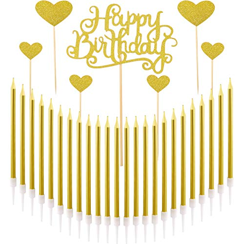 Norme Birthday Cake Candles Metallic Gold Tall Thin Candles Slow Burning Candles in Holder, Gold Glitter Cake Topper Set (24 Pieces Birthday Candles)