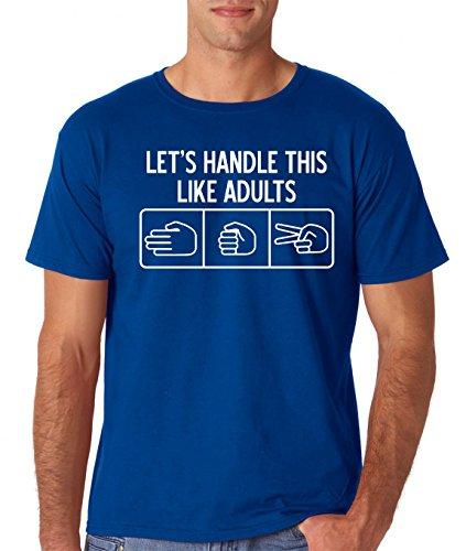 AW Fashions Lets Handle This Like Adults Rock Paper Scissors Retro Premium Men's T-Shirt (Medium, Royal Blue) -