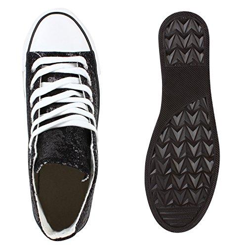 Damen Herren Unisex Sneaker High Schnürer Denim Sneakers Camouflage Sportschuhe Turnschuhe Glitzer Stoff Schuhe Übergrößen Flandell Schwarz Glitzer
