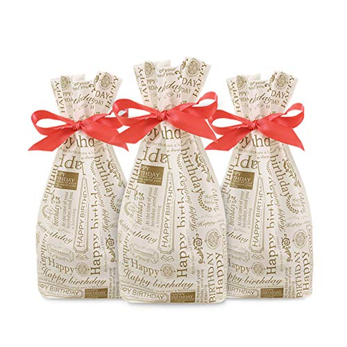 - 50Pcs Gold Happy Birthday Drawstring Bags Cookie Plastic Bags Party Favor Bags Dessert Bags,Gift, Wedding,Satin Package Bag