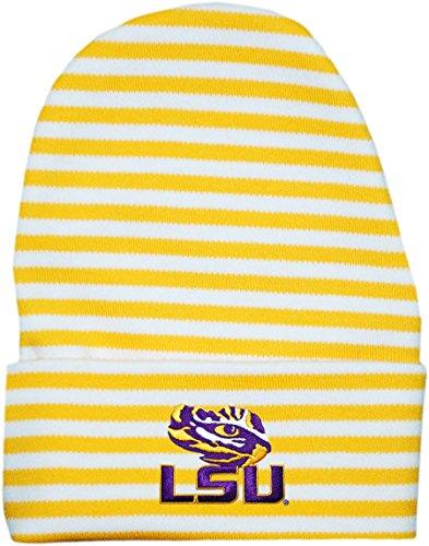 Louisiana State University (LSU) Tigers Striped Newborn Knit Cap Gold