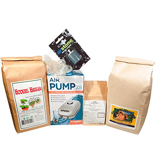 Boogie Brew Compost Tea Kit for Brewers - A Full System for Brewing Compost Tea! Includes AAPA7.8L Active Aqua Air-Pump, 2 Air Stones and Tubing, 3lb Boogie Brew 2P Tea, 3lb Superchar and 8oz Sea90