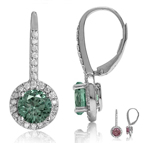 - Round Shape 925 Sterling Silver Halo Leverback Earrings (Created-Alexandrite)
