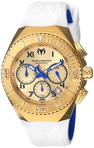 Technomarine Men's 'Manta' Quartz Gold-Tone and Silicone Casual Watch, Color:White (Model: