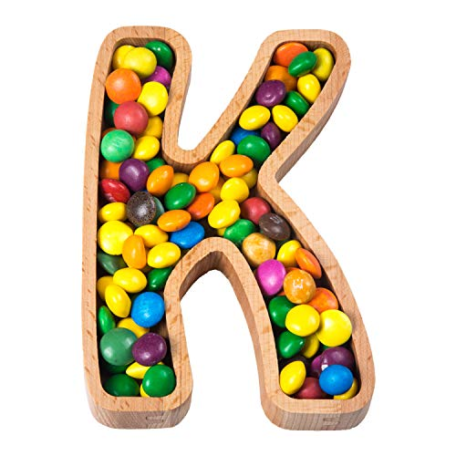 Wooden Letter K Candy Dish | Monogram Nut Bowl | Snack, Cookie, Cracker Serving Plate | Decorative Display, Home Accessory | Unique Gift Idea | for Date, Anniversary, Baby Shower, Birthday Party ()