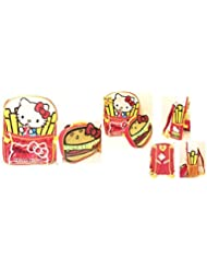 Hello Kitty Hamburger and Fries 16 Full Size Backpack with Attachable Lunchbag