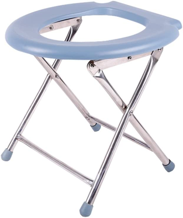 JHome-Bathing Stool Foldable Shower/Bath Stools Stainless Steel Commode Chair Shower Seat Stool Folding Aisle Chair for Elderly/Disabled / Pregnant Women Anti-Slip Mats Shower Chair Heavy Duty Ma 51wSnpKkS-LSL1026_