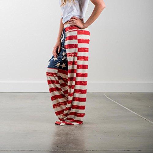 Imjono Drapeau Multicolore Pantalons Américain Leggings Pattes Cordon À Pantalon Femmes Larges rvwE5r