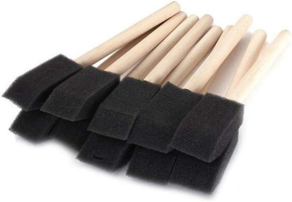 Healifty 50pcs Sponge Painting Brushes Foam Sponge Wood Handle Paint Brush Set for Childrens Drawing Graffiti Tools 2.5cm Black