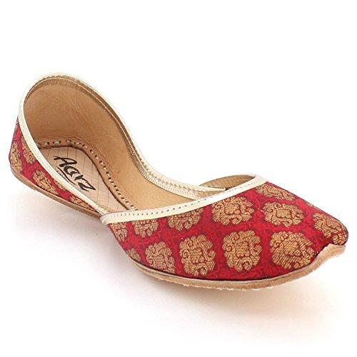 On LONDON Size Maroon Flat Womens Ladies Mojari Shoes Handmade Ethnic Khussa Slip Bridal Jutti Indian Leather Traditional AARZ Pumps ZdT8HFcd