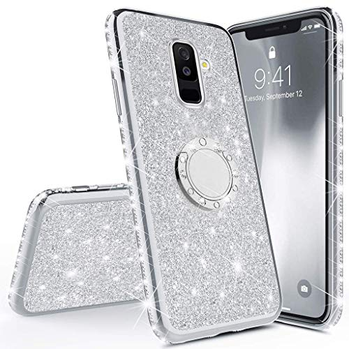 (Herbests Compatible with Samsung Galaxy A8 Plus 2018 Glitter Cute Phone Case for Women Girls with Ring Holder Kickstand Crystal Clear Thin Anti-Scratch Bumper Soft TPU Protective Cover,Silver)