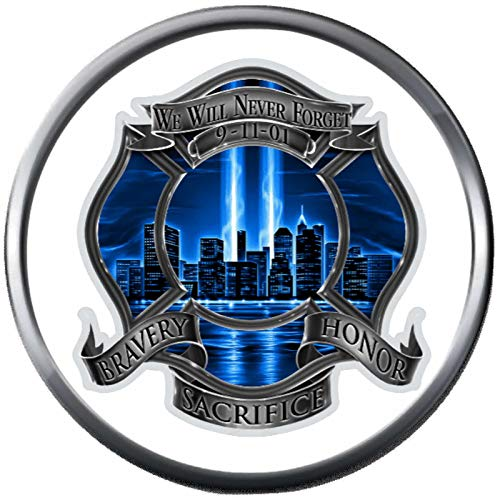 Fashion Snap Jewelry York Twin Towers 911 9 11 Never Forget Firefighter Honor Bravery Courage Under Fire 18MM-20MM Charm (Twin Courage)
