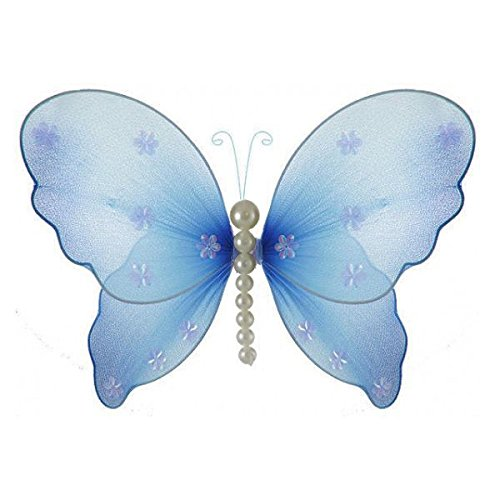 The Butterfly Grove Isabella Pearl Butterfly Decoration 3D Hanging Mesh Organza Nylon Decor, Hawaiian Blue, Small, 5 x 4