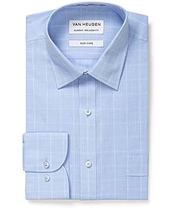 Van Heusen Men's Men's Classic Relaxed Fit Shirt Blue Glen Plaid, Blue, 38cm Collar x 86cm Sleeve
