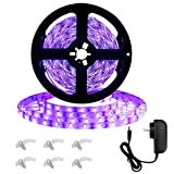 Onforu 16.4ft LED UV Black Light Strip Kit, IP65 Waterproof, 12V Flexible Black Light Fixtures with 300 Units UV Lamp Beads for Fluorescent Dance Party, Stage Lighting, Aquarium, Body Paint