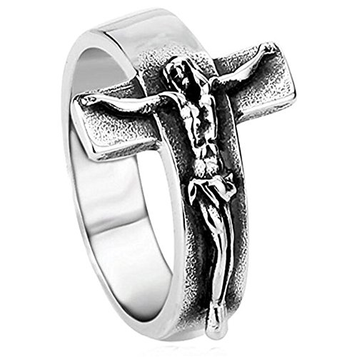 JAJAFOOK Mens Vintage Stainless Steel Jesus Cross Band Crucifix Ring