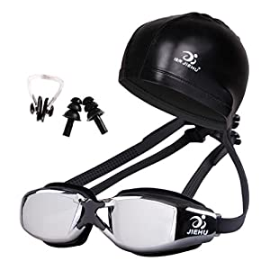 NewKelly Swimming Glasses And Hat Equipment Set Ear Plugs Nose Waterproof Anti-fog Profes (H)