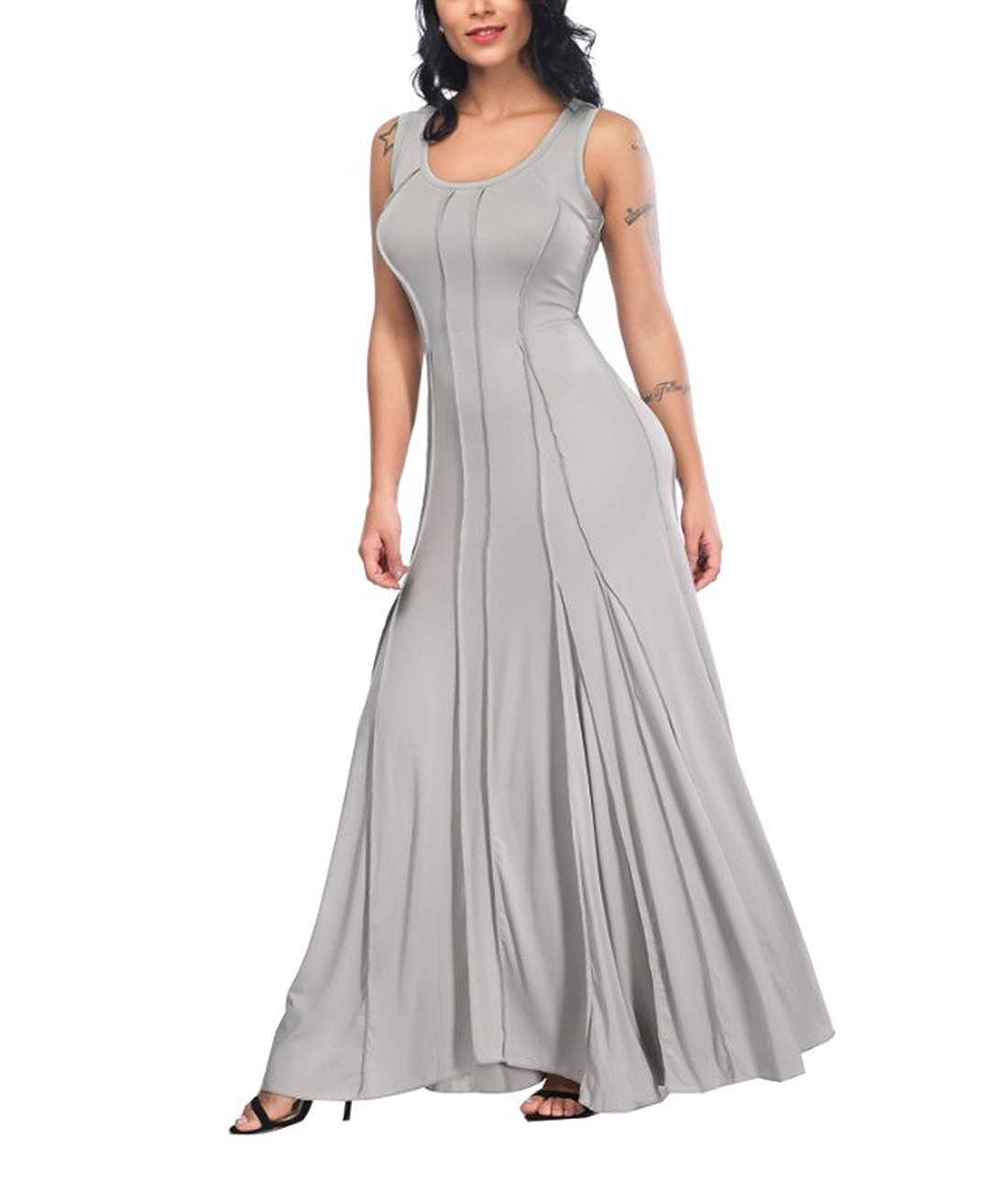 Plus Party Dresses CTARCROW Womens Sleeveless Crewneck Long Maxi Dress