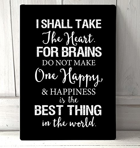 Artylicious I Shall take The Brain, Wizard of oz, Scarecrow Quote A4 Black Metal Sign Plaque Wall - Oz Quotes Wizard Scarecrow