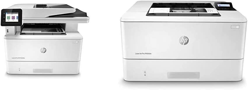 HP Laserjet Pro Multifunction M428fdn Laser Printer – Ethernet Only, White & Laserjet Pro M404dn Monochrome Laser Printer with Built-in Ethernet & Double-Sided Printing - Built-in Ethernet