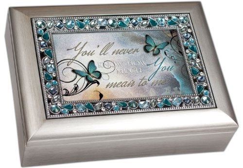 You'll Never Know How Much You Mean to Me Musical Music Jewelry Box - Plays What a Wonderful World, Metallic Silver