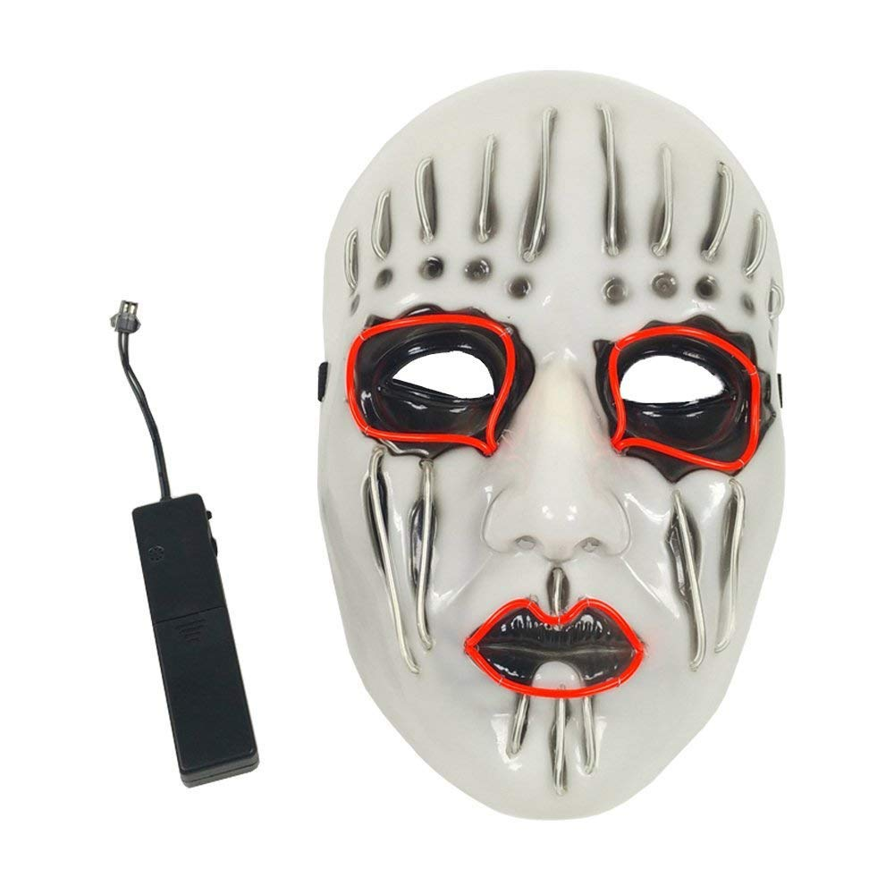 Unpara Halloween Party Led Mask Neon Luminous Wire Glowing Ghost Skull Light Mask (White)