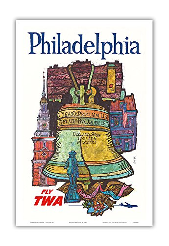 - Philadelphia - Trans World Airlines Fly TWA - Liberty Bell at Independence Hall - Vintage Airline Travel Poster by David Klein c.1960s - Master Art Print - 12in x 18in