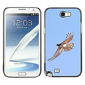 Halcón de vuelos Pájaros azules del cielo Alas Naturaleza- Metal de aluminio y de plástico duro Caja del teléfono - Negro - Samsung Note 2 N7100