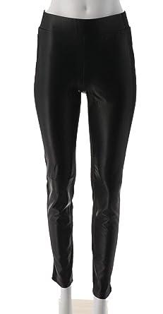 4e091b7c194b2 DG2 Diane Gilman Stretch Faux Leather Ponte Legging Patch Black PXS New  560-454
