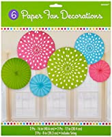 Amscan Cute Polka Dot Hanging Fan Assortment (6 Piece), Multicolor