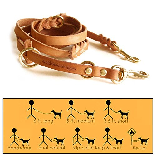 Leather 6' Multi-Function Leather Leash by Bold Lead Designs (Small)