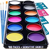 Blue Squid Face Paint Kit for Kids - 30 Stencils, 12 Large Washable Paints, 3 Brushes, Safe Facepainting for Sensitive Skin, Professional Quality Body & Face Facepaints Halloween Makeup Paint Supplies