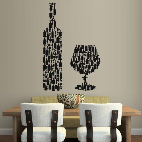 Amazon Com Wall Vinyl Sticker Decals Decor Art Wine Champagne Kitchen Wine Bottle Glass Z2099 Home Kitchen