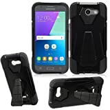 Phone Case Samsung Galaxy-J7 Prepaid J7-V (Verizon) / Galaxy J7-Perx (Sprint) / Galaxy-J7-Sky-Pro Rugged Cover Wide Stand (Wide Stand Black-Black Corner) For Sale