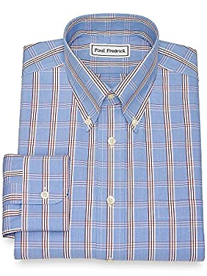 Paul Fredrick Men's Non-Iron Cotton Plaid Dress Shirt