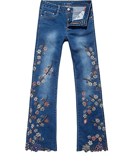 Blue Denim Flared Jeans - 4