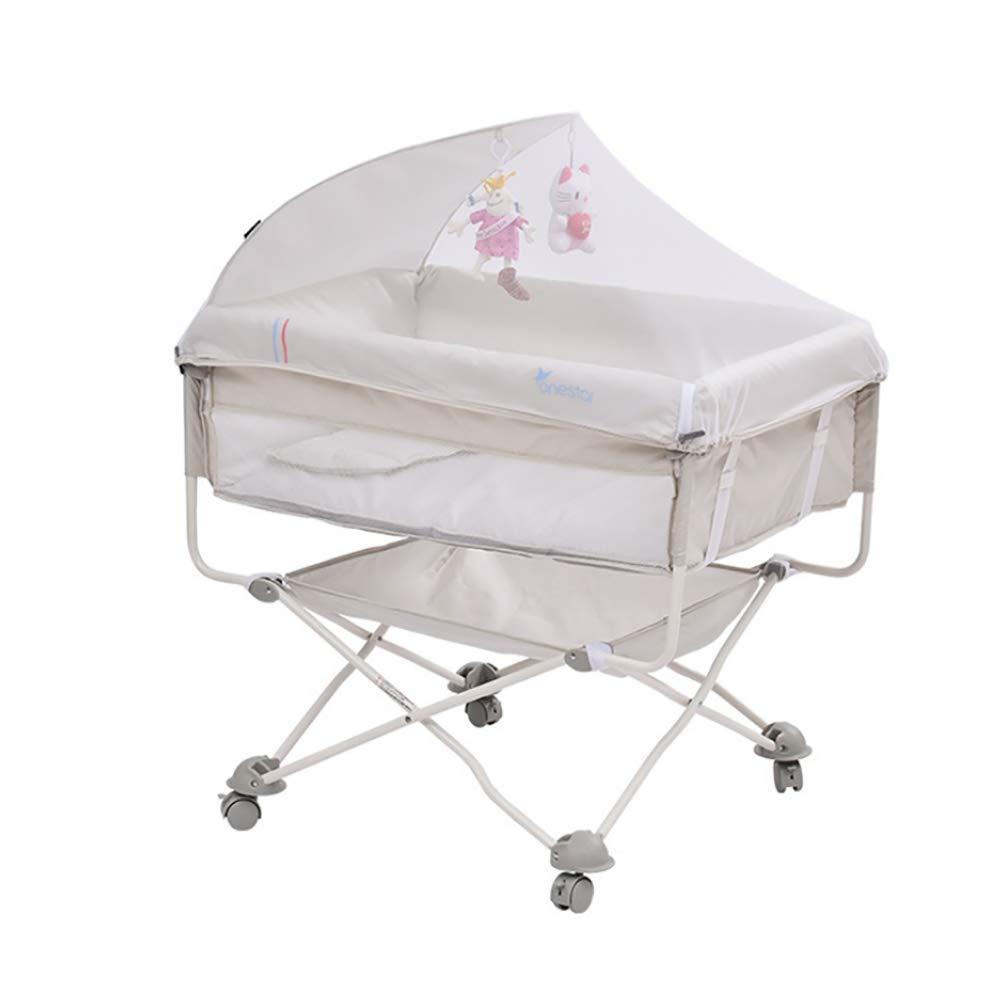 ZLMI ベビーベッド用 ポータブル 折りたたみ式 ベビーベッド ミュートキャスター 蚊帳 ベッドサイドベッド 0-18ヶ月の赤ちゃんに最適  ホワイト B07HR76R3X