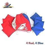 Premium Weather Resistant Official Size ACA Regulation Duck Cloth Cornhole Bags(set of 8) for Cornhole Bean Bags Toss Game,Red &Blue,Includes Shoulder Bag