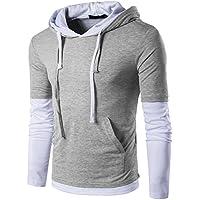 Guoji Men's Casual Slim Fit Long Sleeve T-Shirt with Hooded/Hoodies Tops