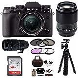 Fujifilm X-T2 Mirrorless Digital Camera w/ 18-55mm +90MM+100-400 F4.5-5.6 R LM OIS WR LENS +Focus 64G Kit