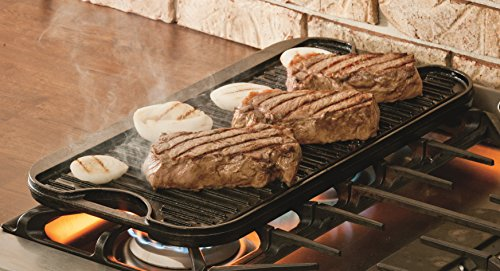 "Lodge Pro-Grid Cast Iron Grill and Griddle Combo. Reversible 20"" x 10.44"" Grill/Griddle Pan with Easy-Grip Handles"