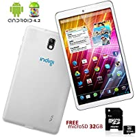 Indigi® White Google Android 4.2 Tablet PC Luxury Leather Back + 32GB micro SDHC