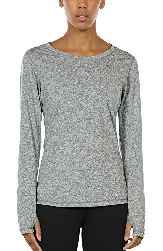 icyzone Women's Workout Yoga Long Sleeve T-Shirts with Thumb Holes (Granite, L)
