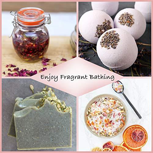 HAIOPS Dried Flowers Soap Making ScentsKits Rosepetals, Lavender, Gold-Chrysanthemum, Forget-Me-Not, Lemon Slice, Jasmine, 6 Bags