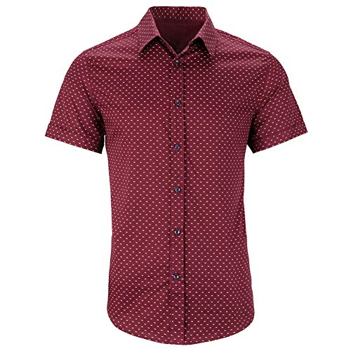 WULFUL Men's Casual Short Sleeve Button Down Shirt Printed Cotton Business Dress Shirts Slim Fitted