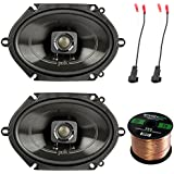 2x Polk 5x7 225W 2-Way Car/Boat Coaxial Audio Marine Speakers, 2X Enrock 16 Gauge Speaker Harness Adapter W/Red Bullet for Select Ford Vehicles 1998-UP, Enrock Audio 16-Gauge 50 Foot Speaker Wire