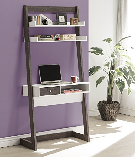3-tier Leaning Bookcase and Computer Desk with Drawer Open Cubby Storage - Weathered Grey and White Black Leaning Shelf Desk