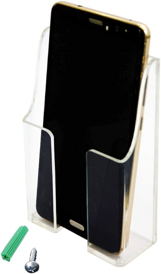 Zmmyr Media Organizer Storage Box Acrylic Transparent Wall Mount Mobile Phone Holder Remote Control (Single Grid)