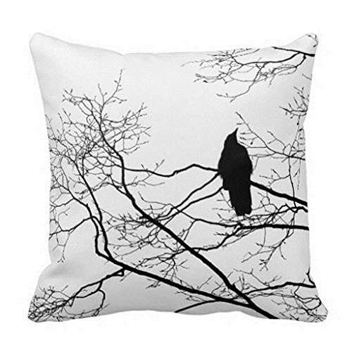 Damuyas Modern Cushion Cover Gothic Raven on a Tree Branch Pillow Case Black White Throw (Raven Decor)