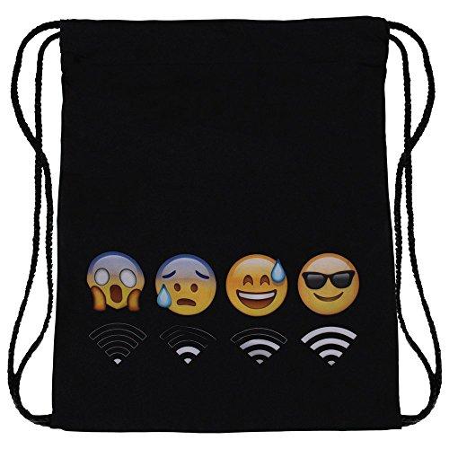 Ocona© Sacca da sport con emoticon e simbolo WiFi, nero